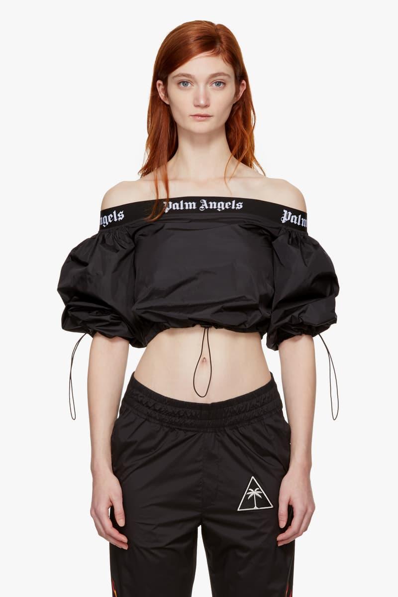 Palm Angels Staple Pieces SSENSE Hoodies Basic Off Shoulder Print Black White Denim Shorts