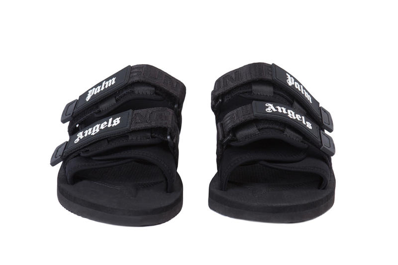 SUICOKE Palm Angels Collaboration Sandals Black Purple Strap Velcro Slides Shoes