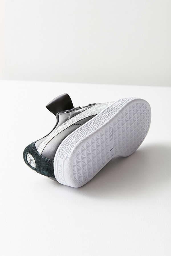 PUMA Glitter Basket Heart White Black Silver Gold Urban Outfitters Sneaker