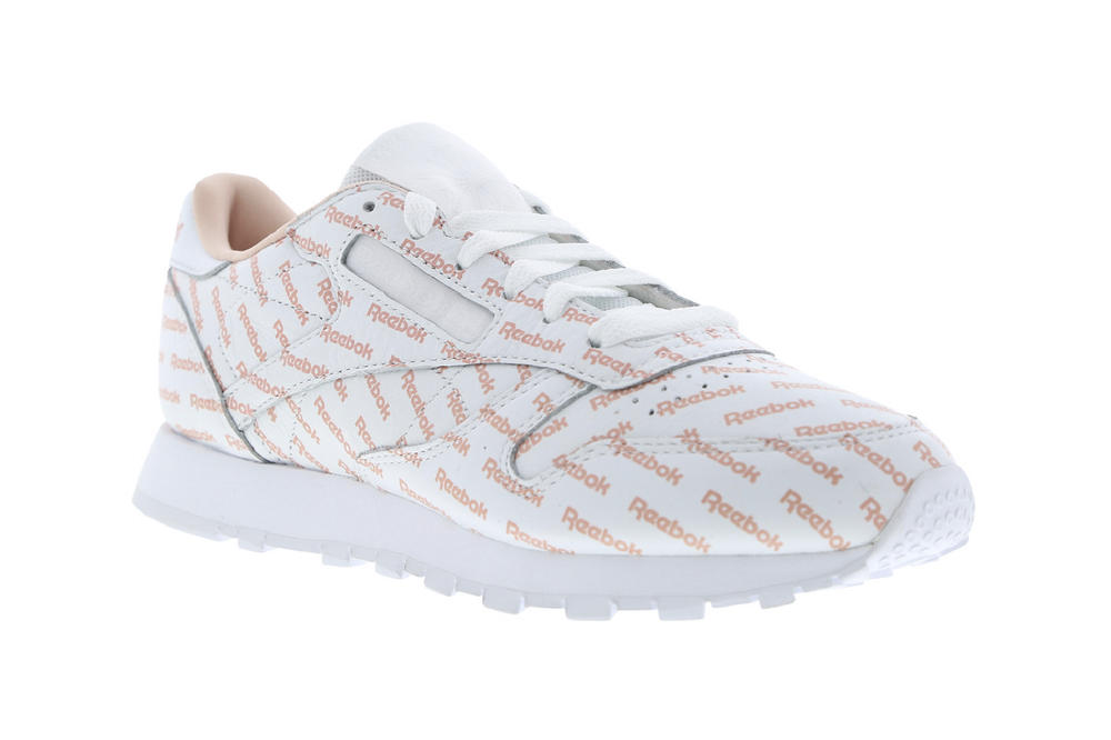 reebok classic leather logo overbranded rose cloud pink white womens sneaker