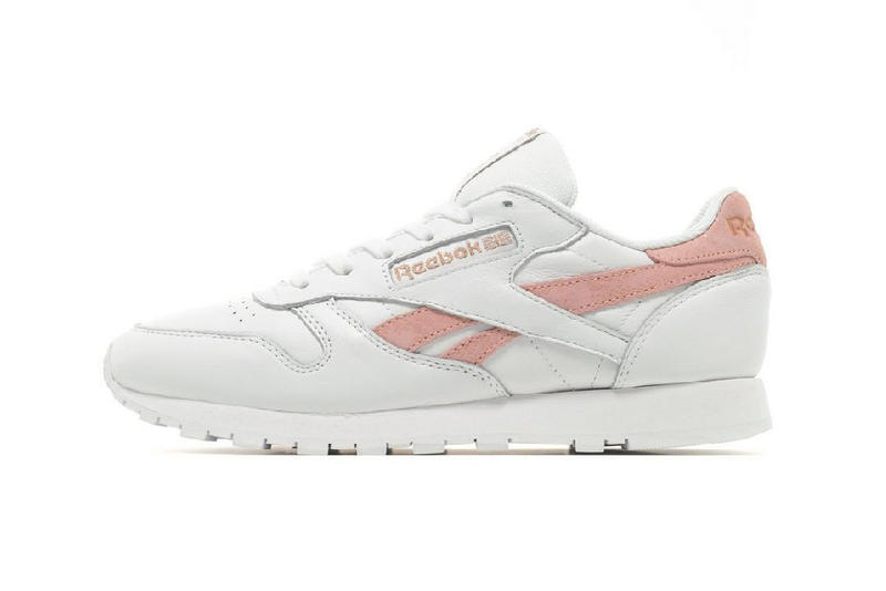 reebok classic leather white pink logo streak