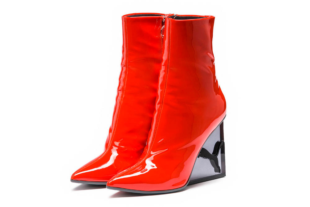 Rihanna Fenty PUMA Cat Wedge Patent Boots Orange Red Black Flame
