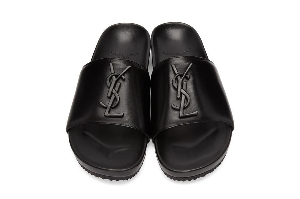 Saint Laurent Black Jimmy Logo Slides SSENSE Leather Footwear Slippers Sandals Classic Sleek
