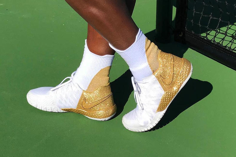 Serena Williams Tennis Athlete Nike Collaboration Shoe Glitter White Sneaker Sports Flyknit