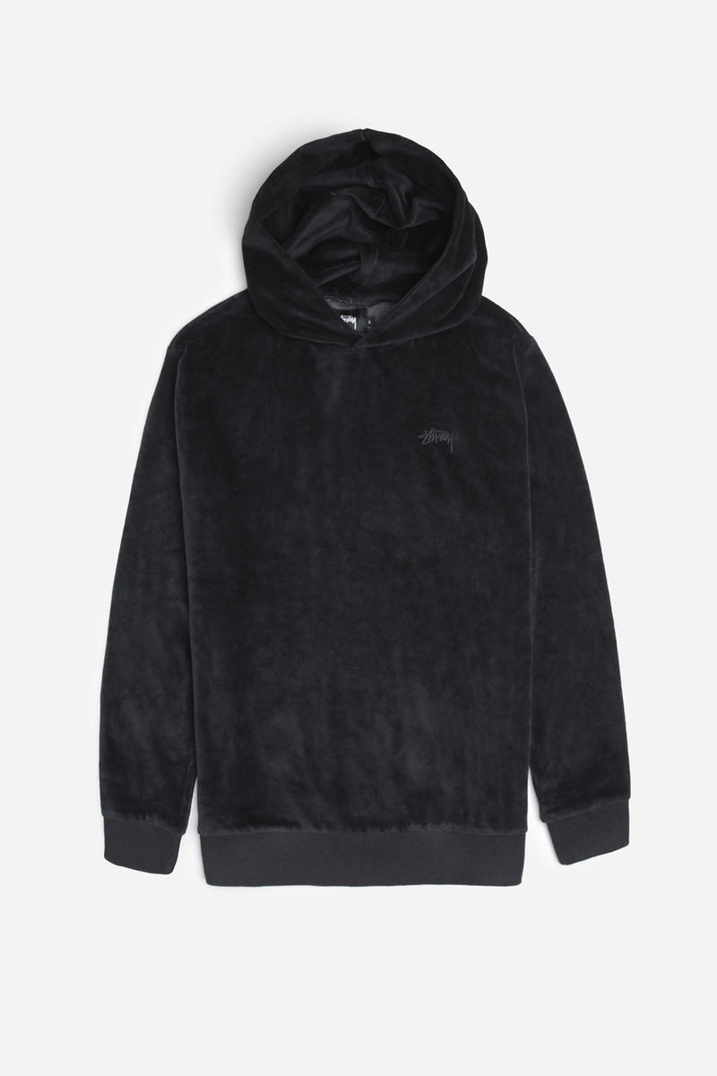 Stussy Velour Hoodies Black Green Velvet