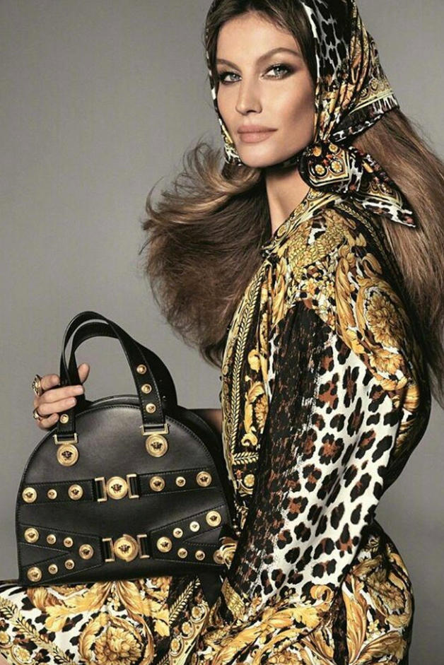 Versace Donatella Versace Gianni Tribute Naomi Campbell Gisele Bundchen Kaia Gerber Supermodels Campaign Fashion Lookbook Gigi Hadid