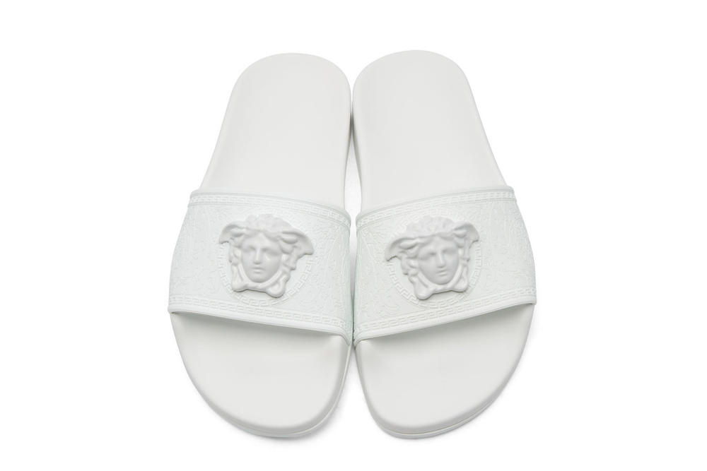 dc40bd611 Versace White Medusa Slides SSENSE Pool Beach Shoes