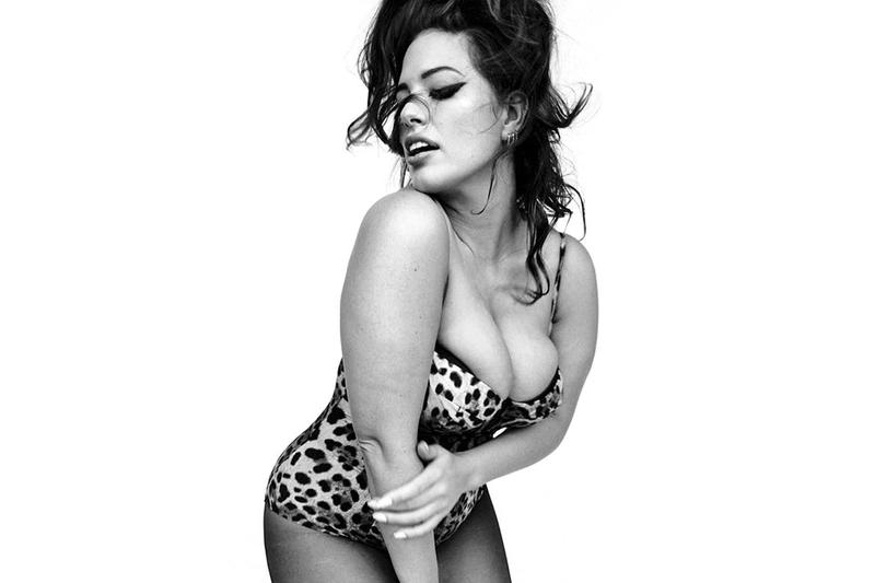 Ashley graham plus size lingerie shoot unretouched vogue italia