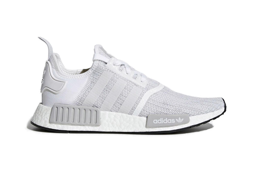 b4a95ef2d5fed adidas NMD R1 White Grey Blizzard Colorway Sneaker Trainer Shoe Runner  Clean Crisp Minimal