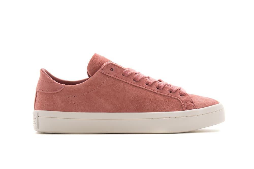 adidas Originals Court Vantage Sneaker Shoe Silhouette Sporty Ash Pink Legend Ink Navy White Sole Sleek Crisp Minimal