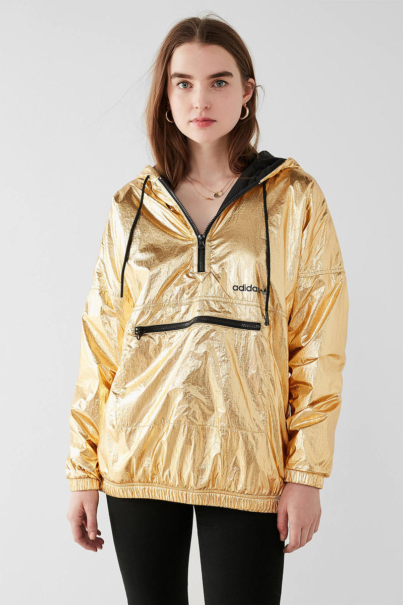 adidas originals metallic shiny gold golden windbreaker jacket urban outfitters