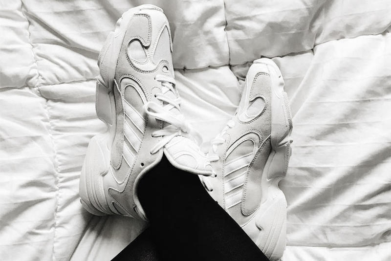 adidas Originals YEEZY Wave Runner Desert Rat 500 Mashup Inspired Yung 1 Silhouette Chunky Sneaker On Feet Look