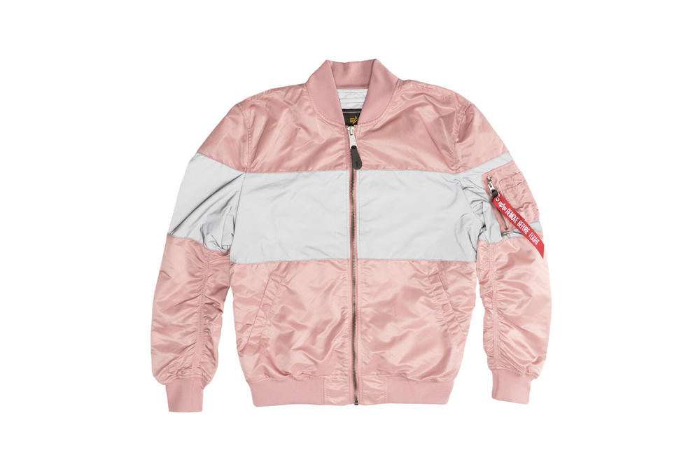 Alpha Industries MA-1 Reflective Jacket Silver Pink Front View