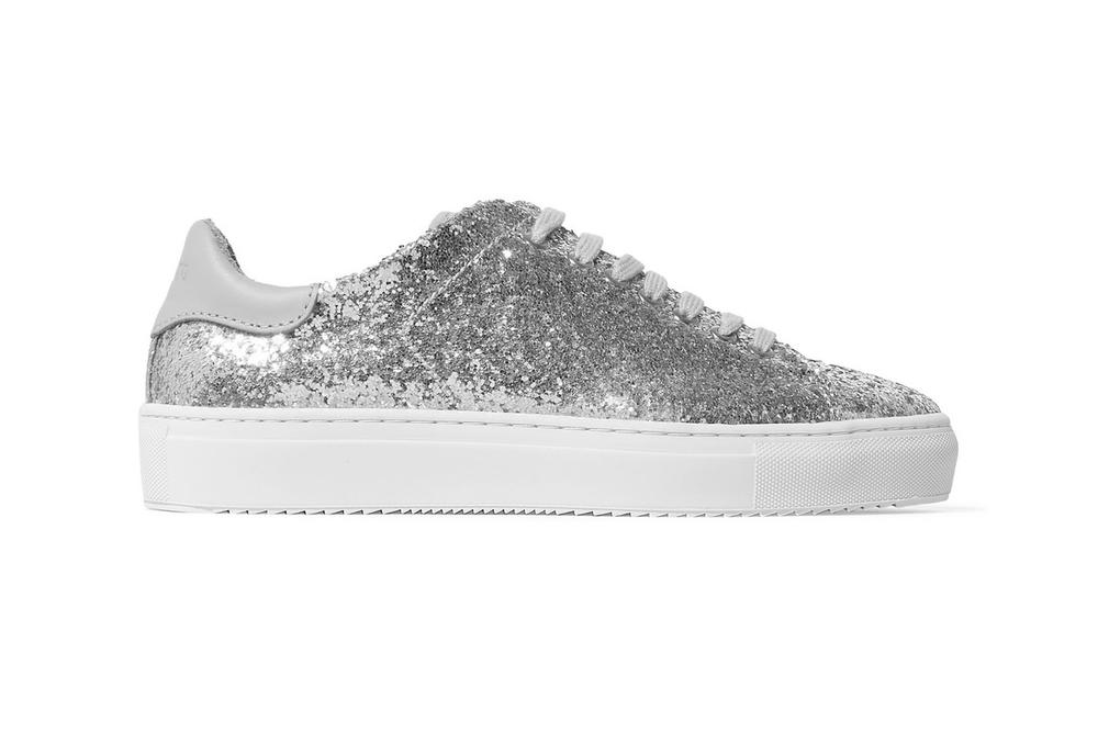 Axel Arigato Glittered Leather Sneakers Silver Rose Pink