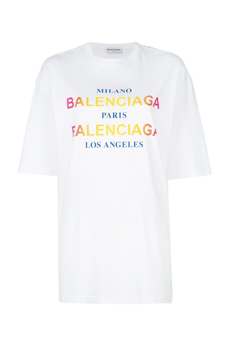 balenciaga oversized rainbow logo cities tee t shirt farfetch