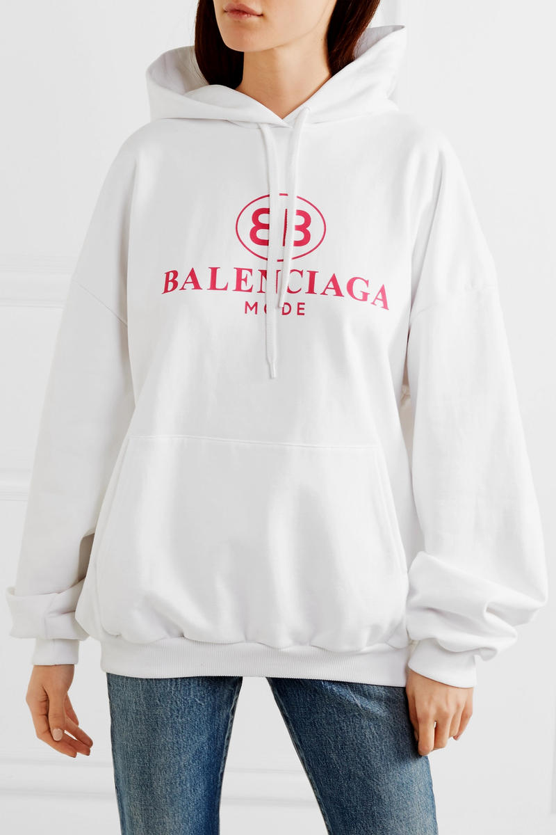 Balenciaga Oversized Printed Hoodie White Front View