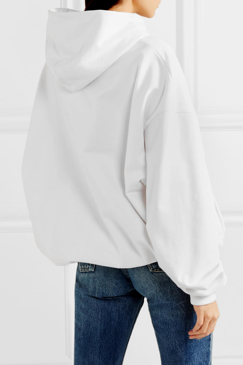 Balenciaga Oversized Printed Hoodie White Back View