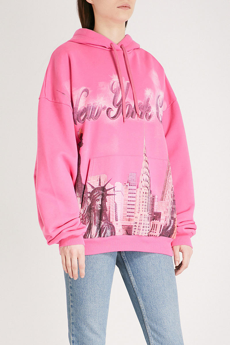 Balenciaga hot pink hoodie nyc new york souvenir where to buy demna gvasalia