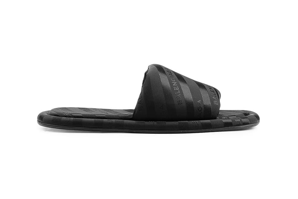 Balenciaga Black Hotel Logo Print Branded Slides Slip-ons Slippers stylebop.com