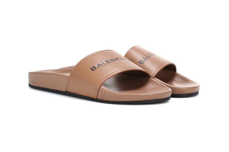 2df9cd7e604 Balenciaga Logo Leather Slide Is Back in Nude