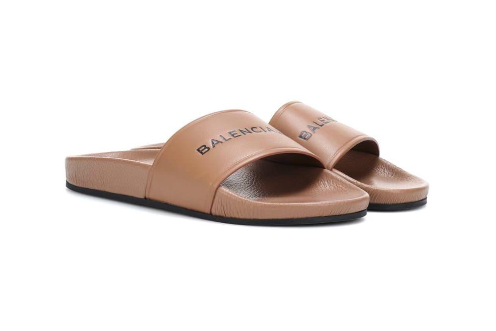 Balenciaga Logo Leather Slide Nude Brown