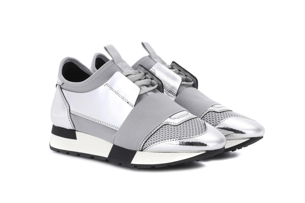 Balenciaga Silver Chrome Race Runner Sneaker Reflective Mirror Lace Up Shoes Edgy Futuristic
