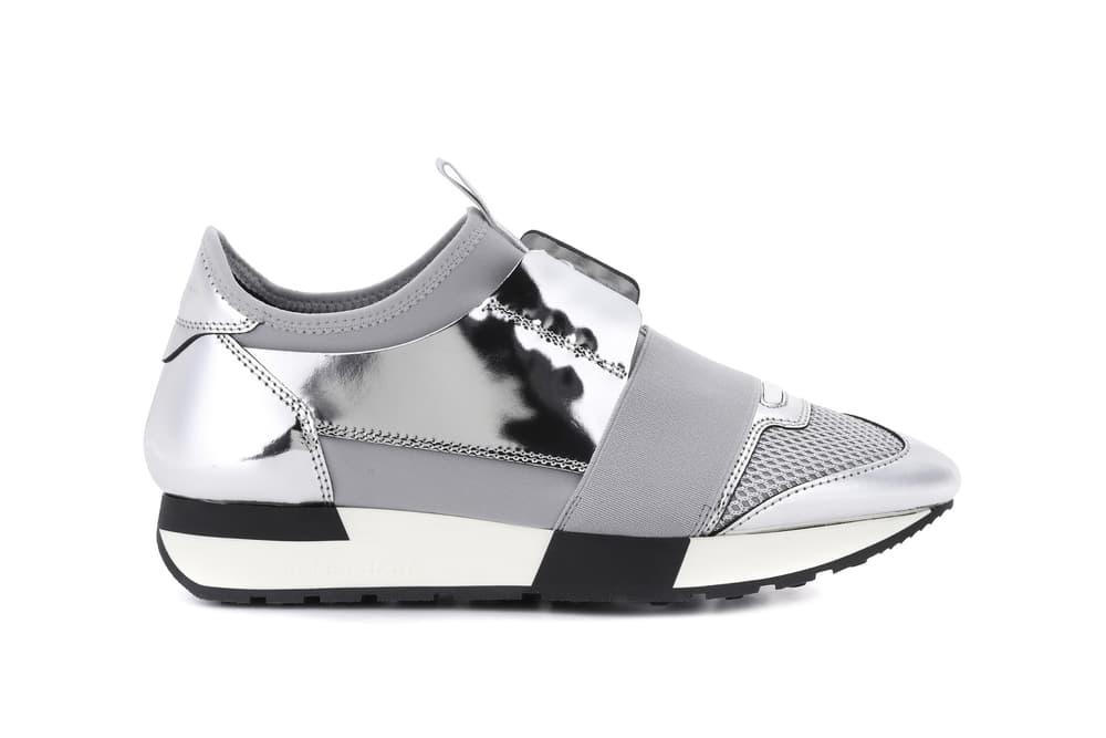 f1e7c77fce179 Balenciaga Silver Chrome Race Runner Sneaker Reflective Mirror Lace Up  Shoes Edgy Futuristic
