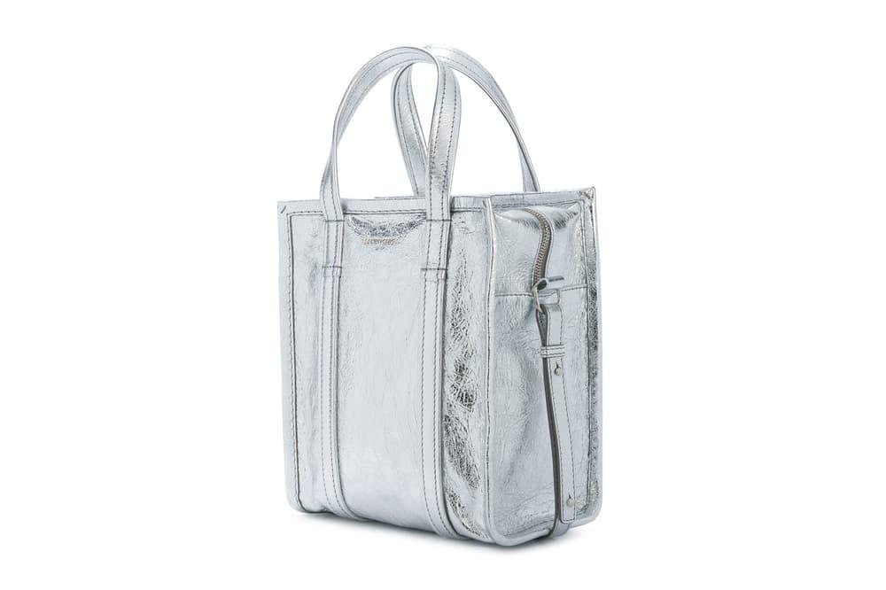 Balenciaga Silver Leather Handbag Tote Demna Gvasalia