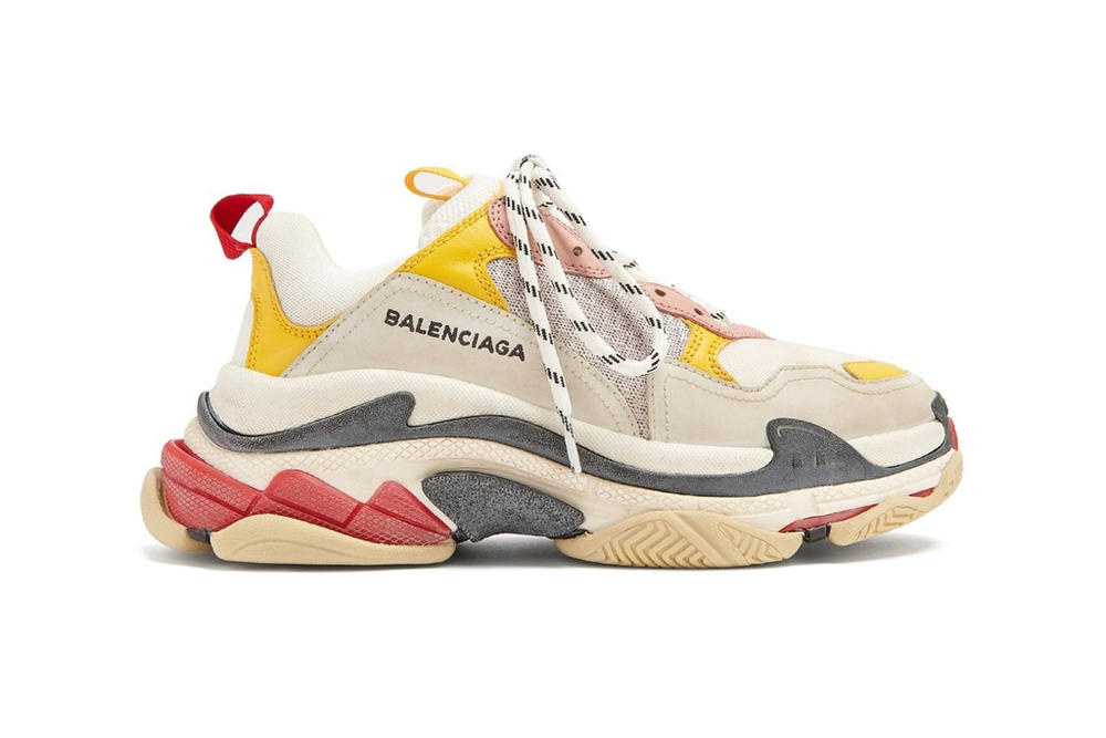 Balenciaga Triple-S Sneaker Trainer Runner Chunky Dad Shoe Silhouette Matches Fashion Colorway Red Yellow Cream White Grey Limited Edition Sold Out
