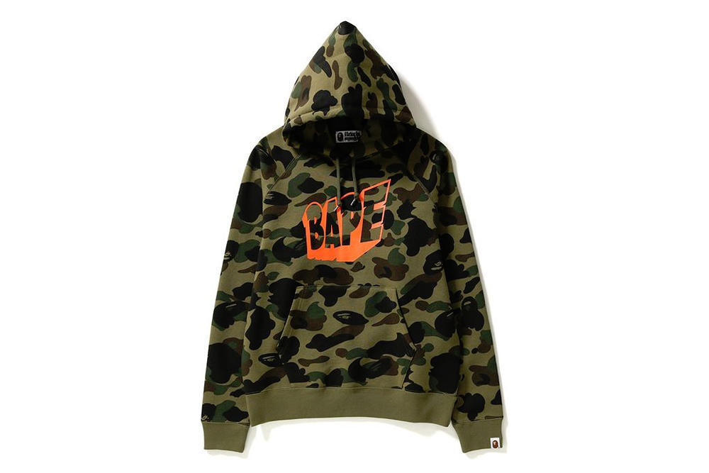 BAPE A Bathing Ape Camouflage Camo Collection Shark Face Hoodie Cozy Sweatshirt Print Orange Yellow Bold