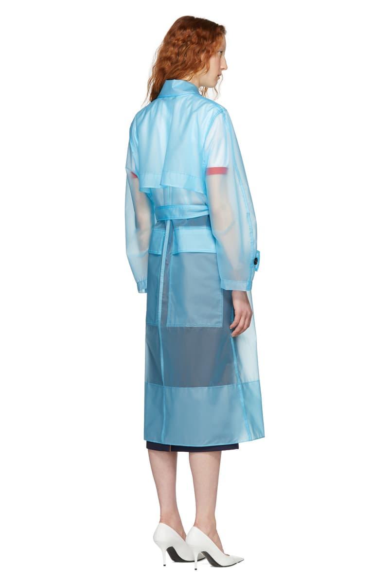 Calvin Klein Clear Blue Plastic Coat 2018 Trend Translucent Blue Raf Simons