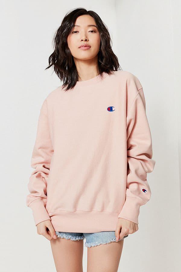 champion usa womens blush pastel light pink logo sweatshirt reverse weave urban outfitters