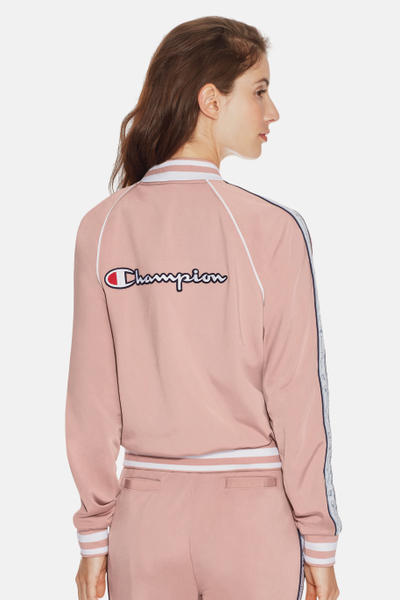 Champion Dream Pink Logo Tracksuit Jacket Pants Trousers Satin Silk Sporty Rose Pastel Valentine's Day