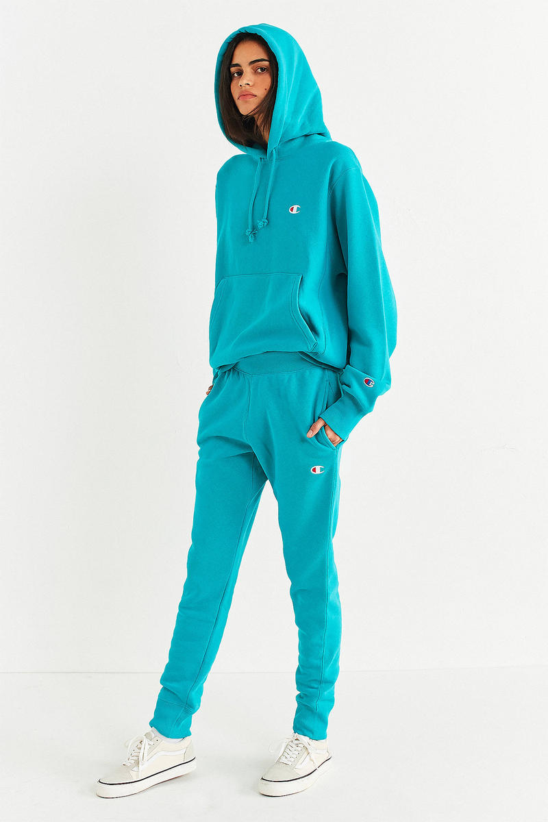 Champion Urban Outfitters hoodie track jogger pants set turquoise blue
