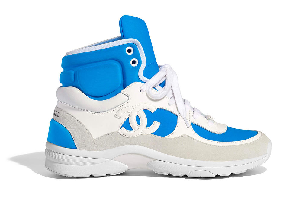 Chanel Spring Summer 2018 Pre-Collection Pre-Spring Sneaker Logo CC Double C Karl Lagerfeld High Top Blue