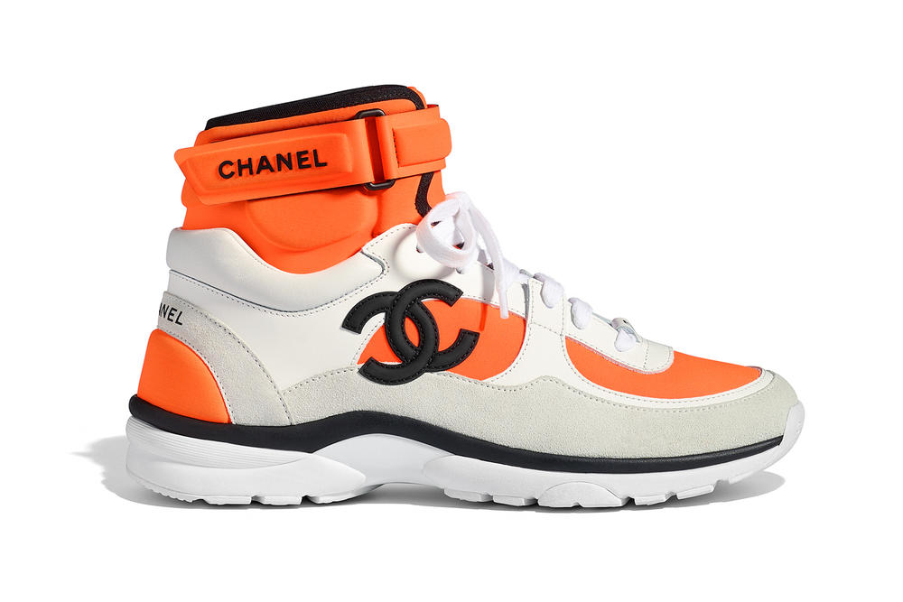 Chanel Spring Summer 2018 Pre-Collection Pre-Spring Sneaker Logo CC Double C Karl Lagerfeld High Top Orange