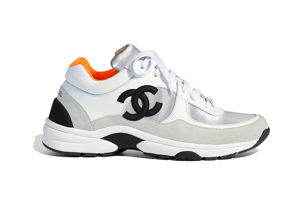 Chanel Spring Summer 2018 Pre-Collection Pre-Spring Sneaker Logo CC Double C Karl Lagerfeld White Grey Orange