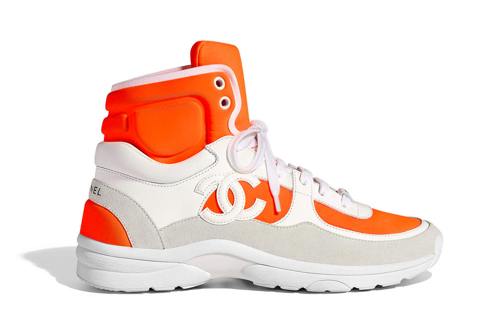 Chanel Spring Summer 2018 Pre-Collection Pre-Spring Sneaker Logo CC Double C Karl Lagerfeld High Top Orange White