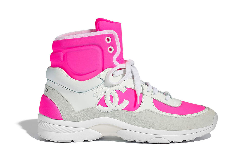 Chanel Spring Summer 2018 Pre-Collection Pre-Spring Sneaker Logo CC Double C Karl Lagerfeld High Top Pink
