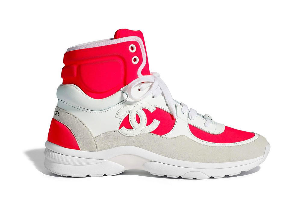 Chanel Spring Summer 2018 Pre-Collection Pre-Spring Sneaker Logo CC Double C Karl Lagerfeld High Top Red