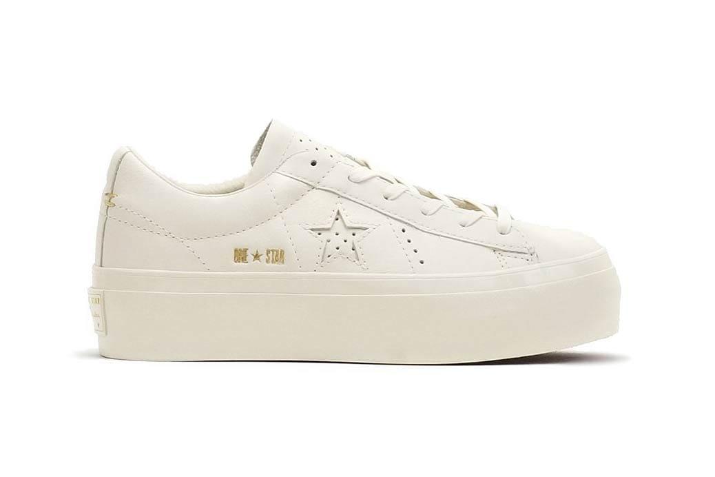 white platform converse one star