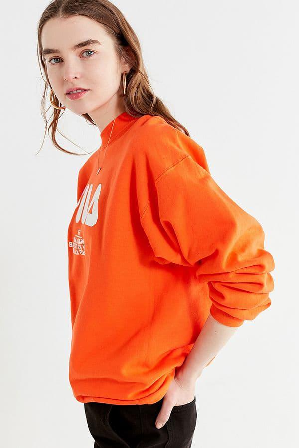 FILA urban outfitters sweater sweatshirt logo orange retro bright where to buy womens