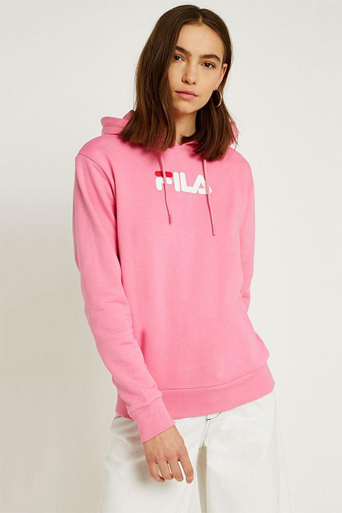 FILA urban outfitters logo branded hoodie sweatshirt graphic pastel hot millennial pink where to buy
