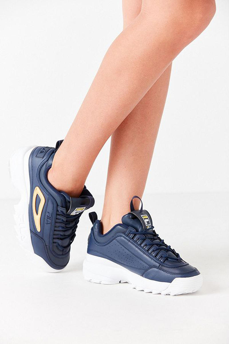 Fila x Urban Outfitter Disruptor 2 Navy Side View
