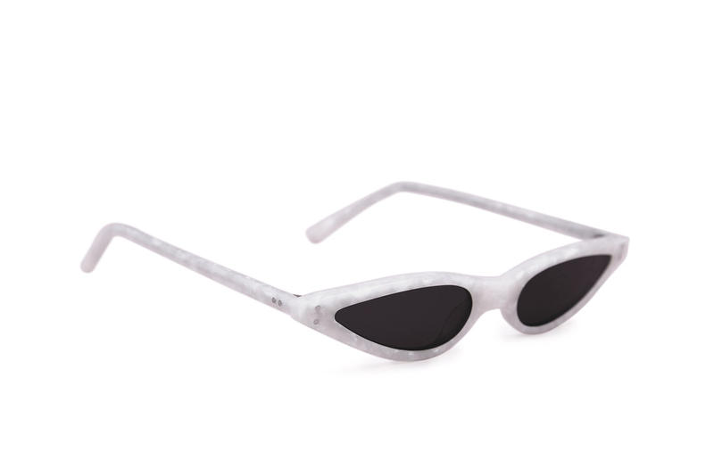 George Keburia Sunglasses Shades Futuristic Statement Small Sunglasses Retro Frames Plastic White Marble