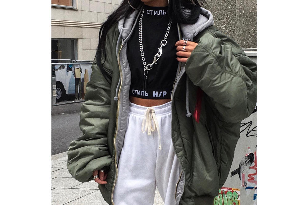Get the HYPEBAE Look Cozy Chic Street Style Streetwear Heron Preston Alpha Industries Nike Off-White Bomber Jacket