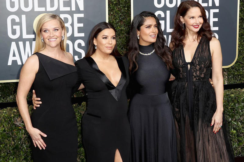 Golden Globes Dresses Are Being Sold For Auction Time's Up Black All Black Movement Me Too Time's Up Charity