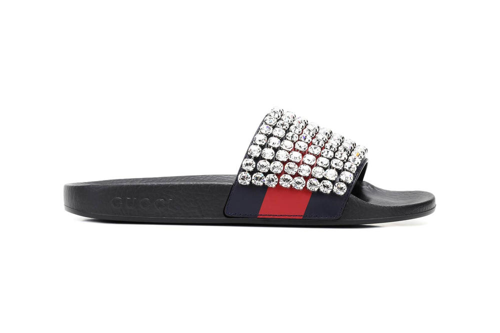 Gucci Crystal Embellished Slides sandals slippers mytheresa.com