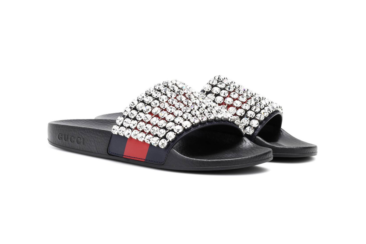 671b330e5 Gucci's Crystal-Studded Slides Are Just the Right Amount of Extra. Bling,  bling. Gucci Crystal Embellished Slides sandals slippers ...