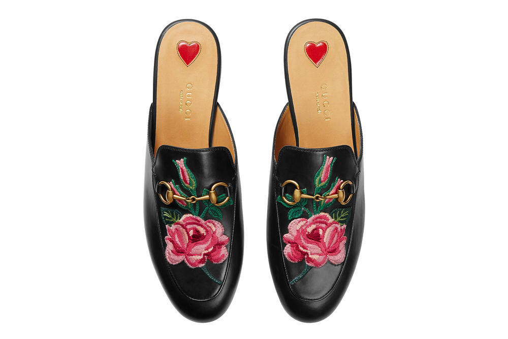Gucci Floral Embroidered Princetown Leather Slippers Pink Red Black
